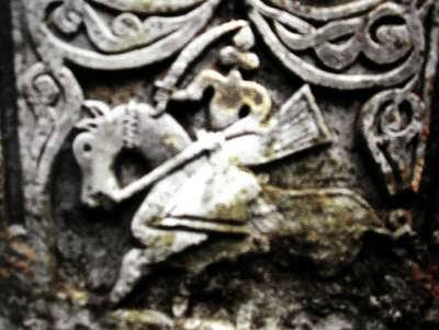 Битва горца с монголом. Кам. вставка. XIV век